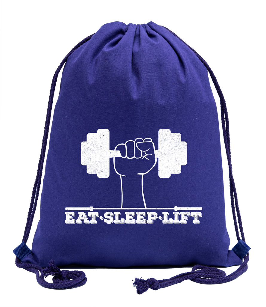 Eat Sleep Lift Fitness Cotton Drawstring Backpack