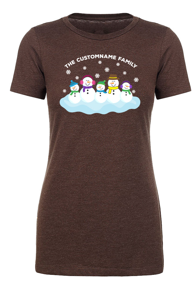 Shirt - Snowman Family With Custom Name-Family Reunion Woman's T-shirts