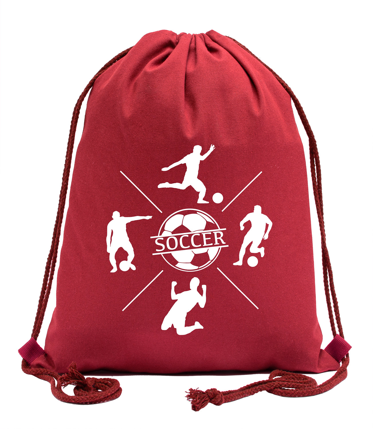 Soccer Players in Action Cotton Drawstring Bag