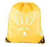 Accessory - Easter Basket Bags, Bulk Drawstring Backpacks, Party Favor Goody Bags For Easter - Bunny Face