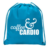Accessory - Mini Drawstring Gym Bags, Inspirational Gym Bags With Workout Motivation Quotes - Coffee & Cardio