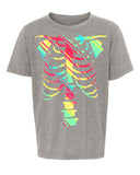 Neon Rainbow Skeleton Kids Shirts