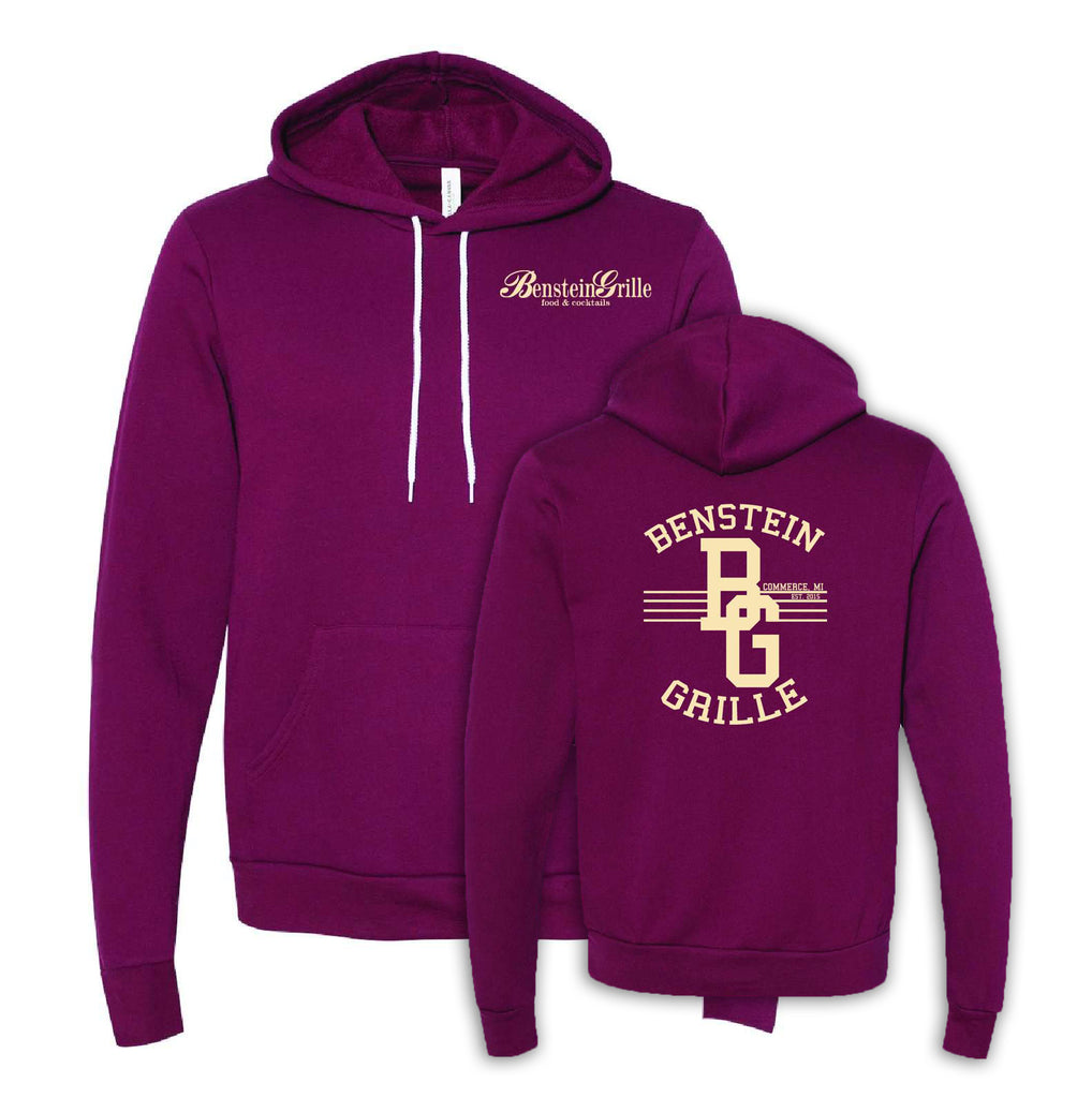 "Benstein Grille ""Ben Eating, Ben Drinking Ben Serving"" Cozy Hoodie Left Chest BG W/Diner Design"