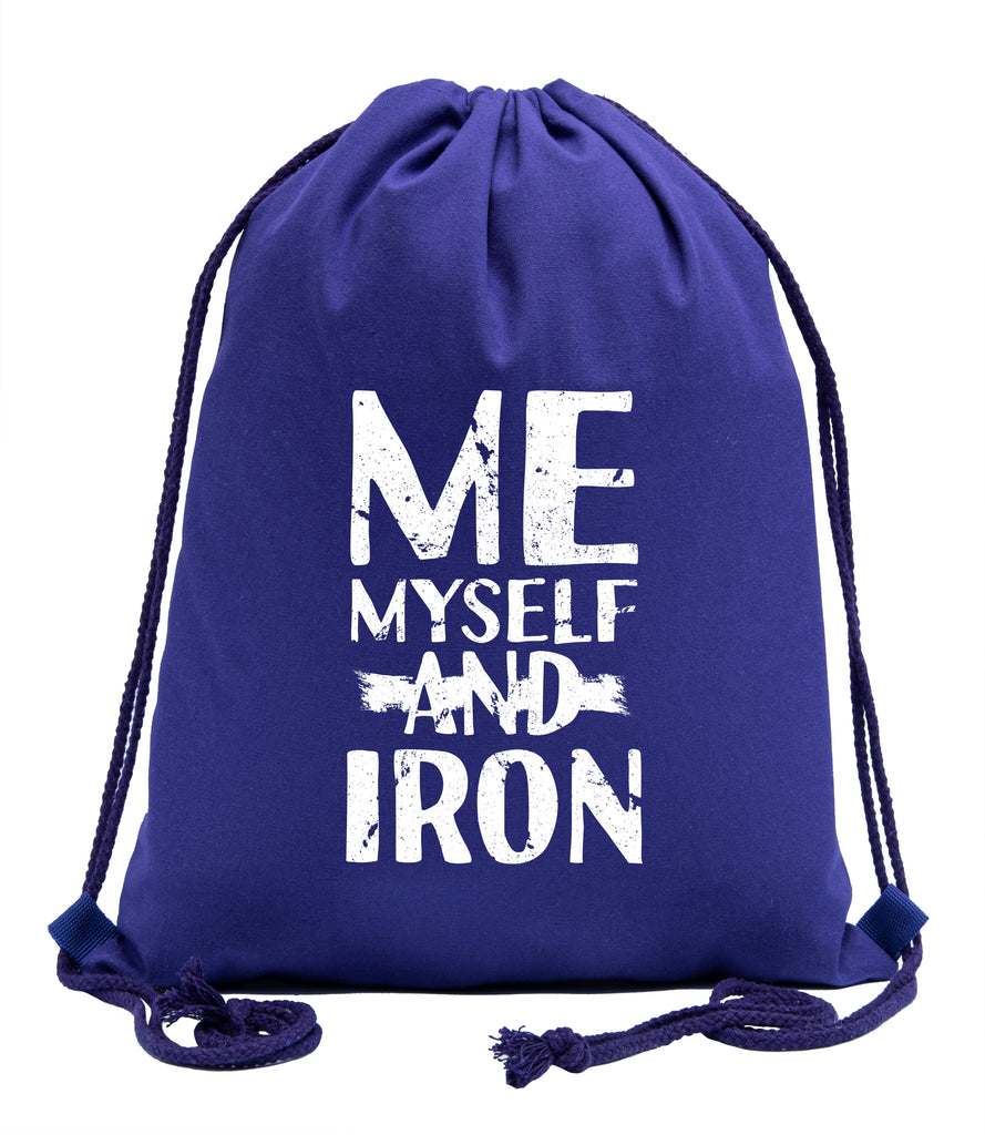 Me, Myself, & Iron Fitness Cotton Drawstring Backpack