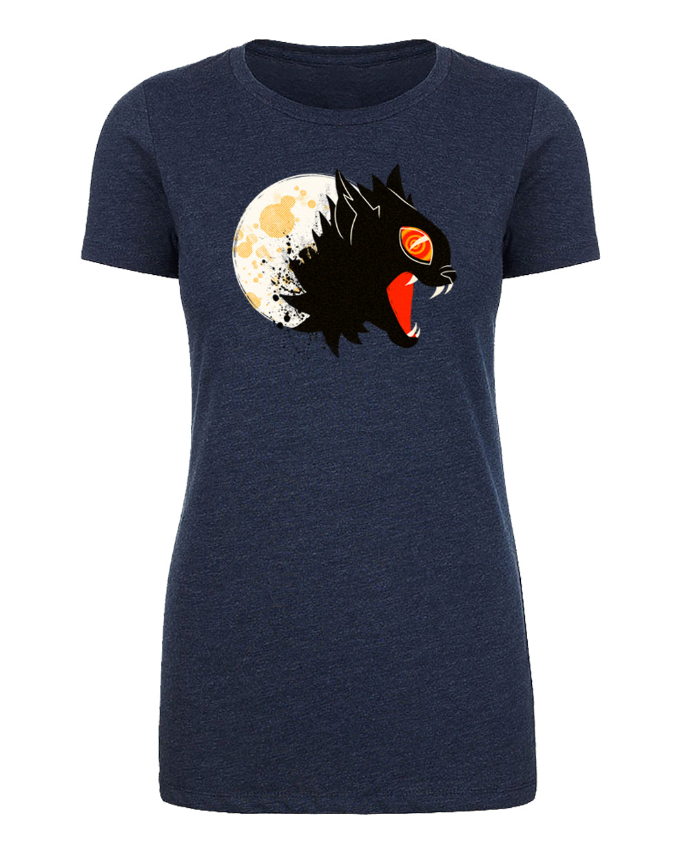 Vintage Fierce Black Cat and Moon Womens T Shirts