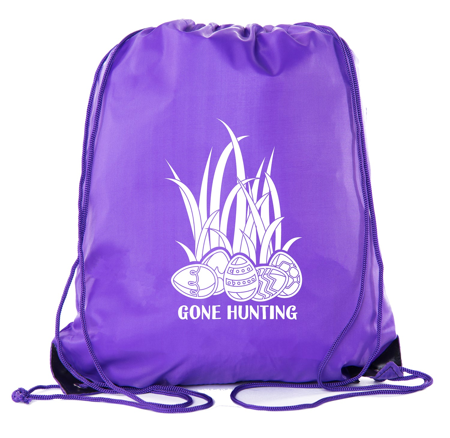 Gone Hunting - Colorful Eggs in Grass Color in Polyester Drawstring Bag