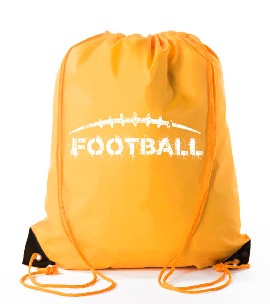 Football With Distressed Laces Polyester Drawstring Bag