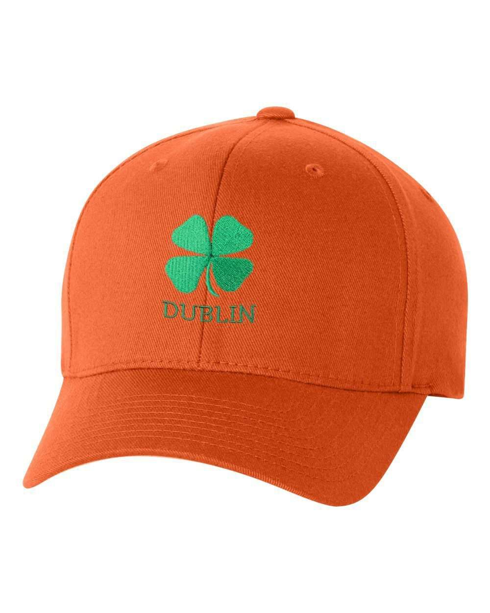Hat - St Patrick's Day Fitted Hat, Four Leaf Clover Flex Fit Baseball Hat - Clover & Dublin