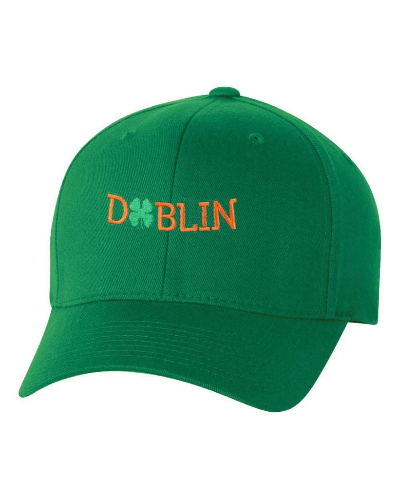 Hat - St Patrick's Day Fitted Hat, Four Leaf Clover Flex Fit Baseball Hat - Dublin