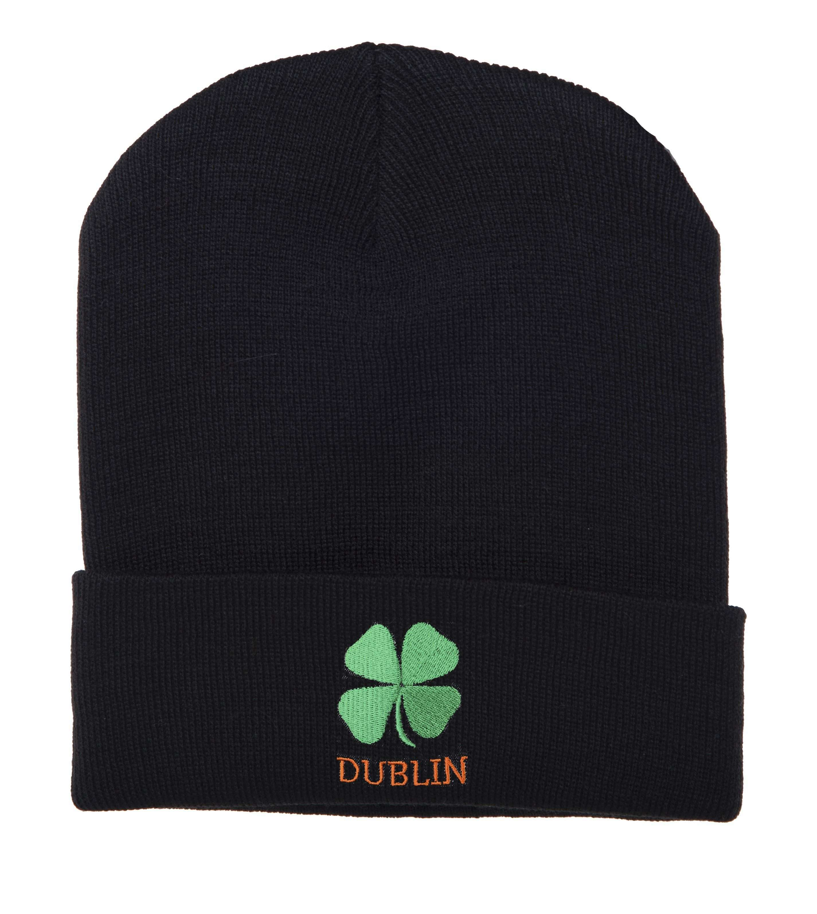 Hat - St Patrick's Day Wool Hat, Four Leaf Clover Wool Beanie Hat - Clover & Dublin