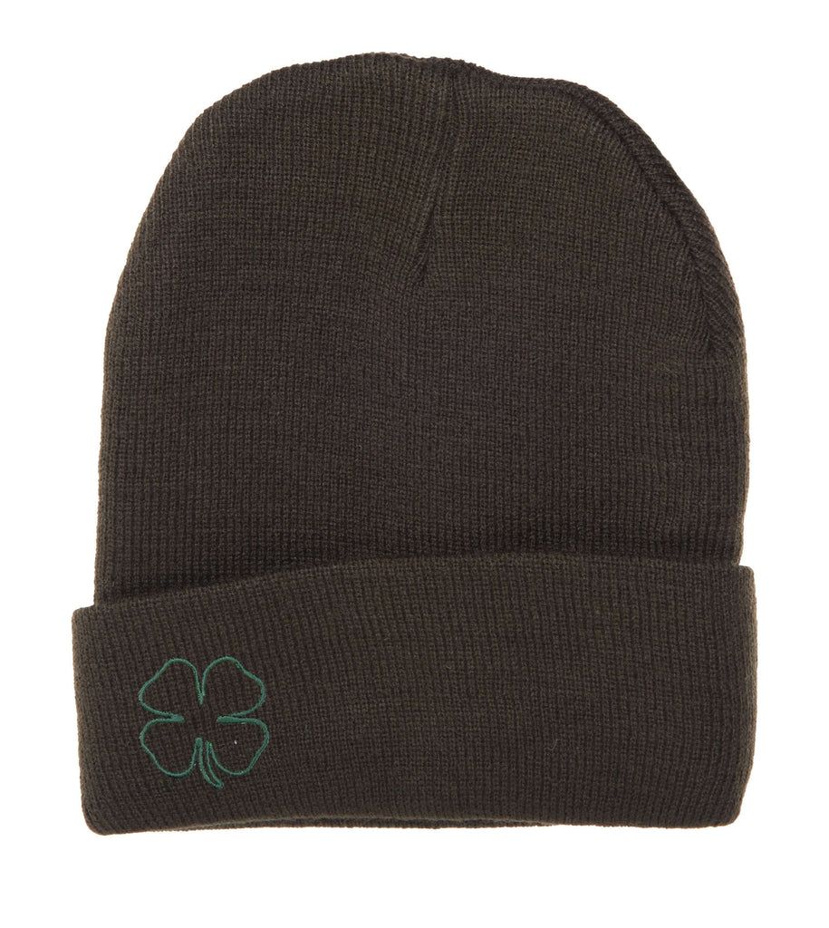 Hat - St Patrick's Day Wool Hat, Four Leaf Clover Wool Beanie Hat - Outline