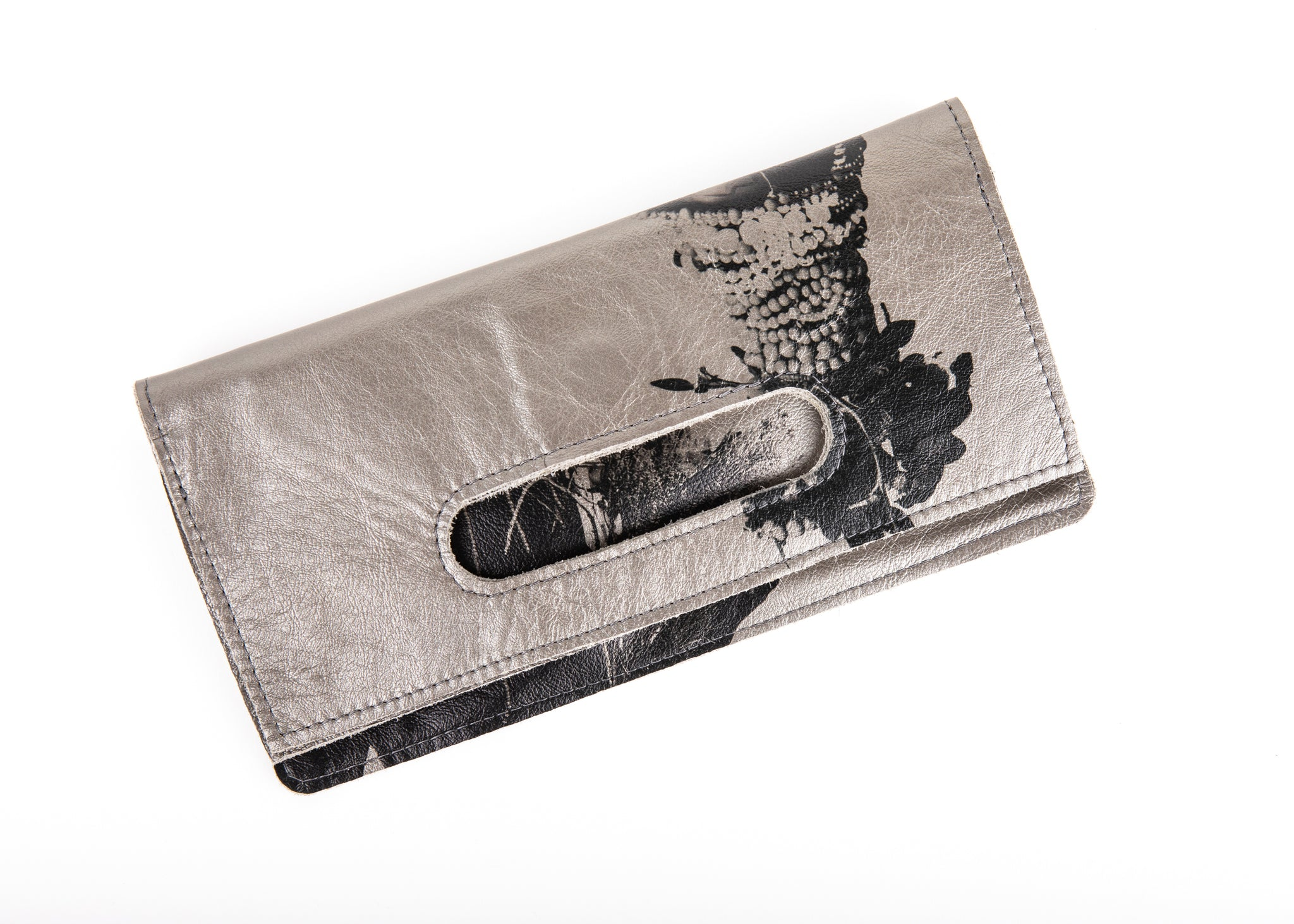 African Queen Handle Clutch (Pewter) leather