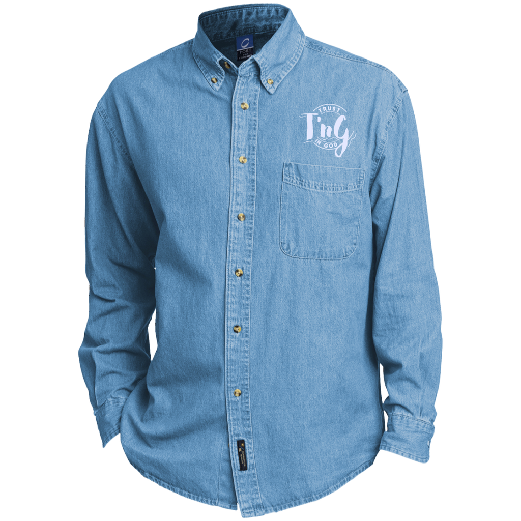 Custom Embroidered Long Sleeve Denim Shirt Trust In God Products