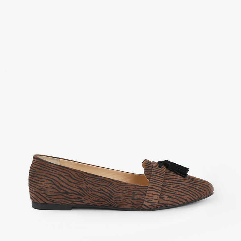 Zephyr-Women shoes-Moccasins-Flat Shoes-Brown-Side View-JULKÉ