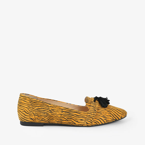 Zephyr-Women shoes-Moccasins-Flat Shoes-Yellow-Side View-JULKÉ