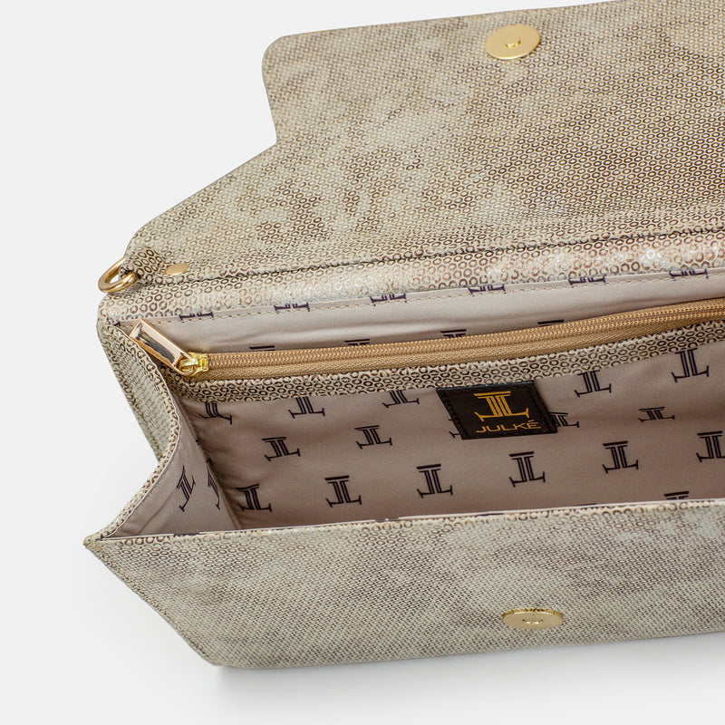 Amelia - Gold Clutch For Ladies - Inside View - Julke