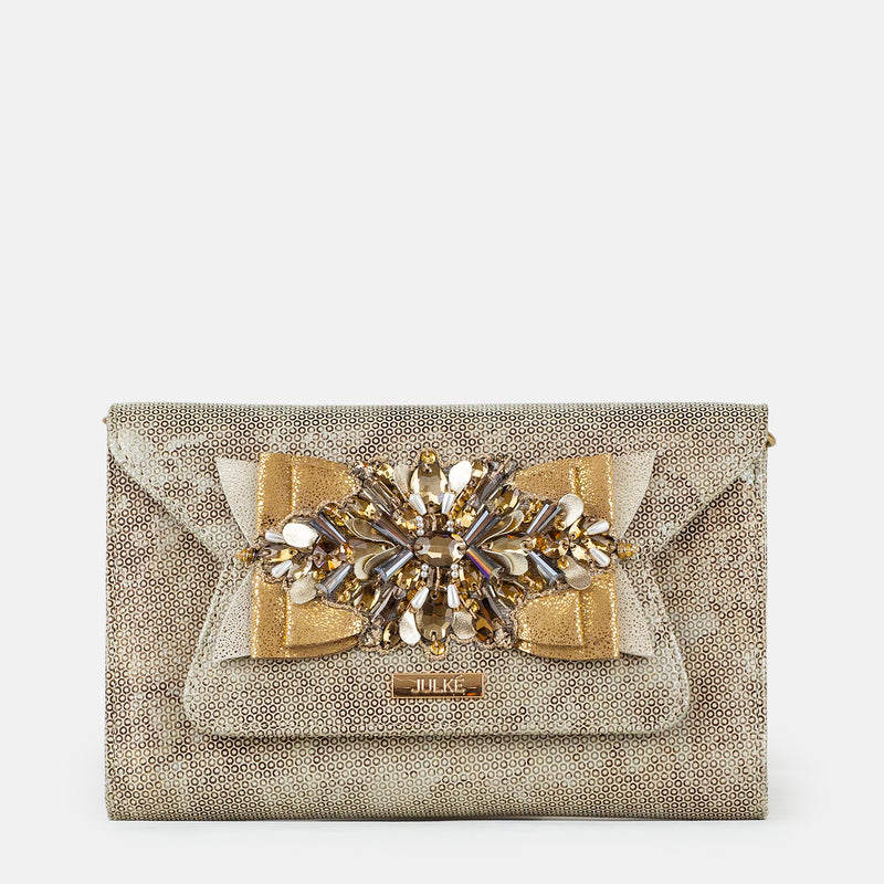 Amelia - Gold Clutch For Ladies - Front View - Julke