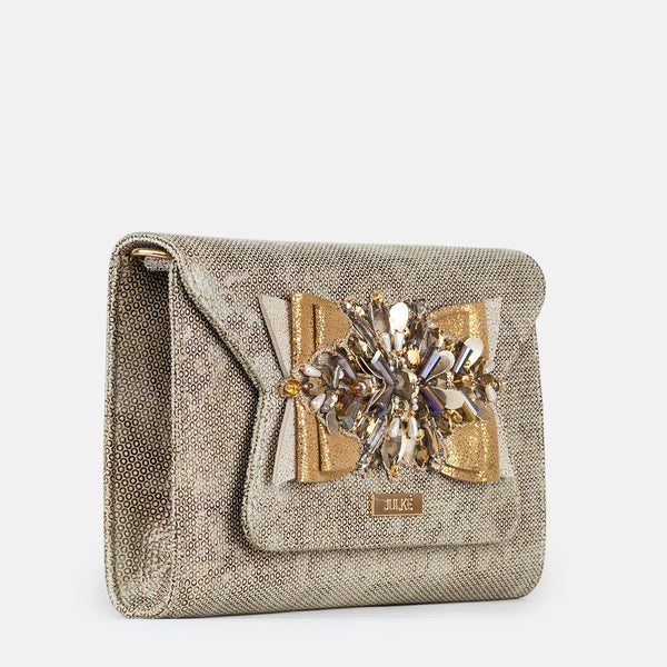 Amelia - Gold Clutch For Ladies - Side View - Julke
