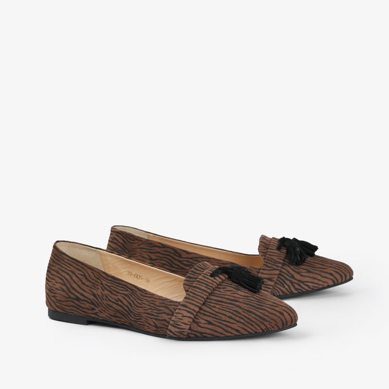 Zephyr-Women shoes-Moccasins-Flat Shoes-Brown-Three Quarter View-JULKÉ