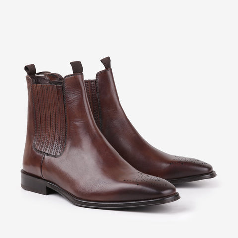 Valdamer - Men leather boots in brown color - Julke