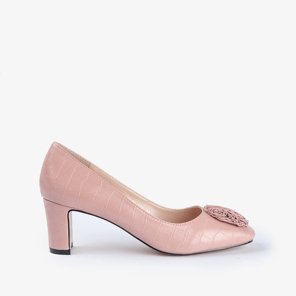 Vivian-Women shoes-Block Heels-Pink-Side View-JULKÉ