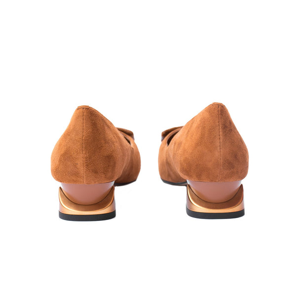Camila - Block Heel shoes for women in suede in brown color - Julke