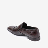 Andreas - Men leather shoes with crocodile pattern in brown color - JULKE