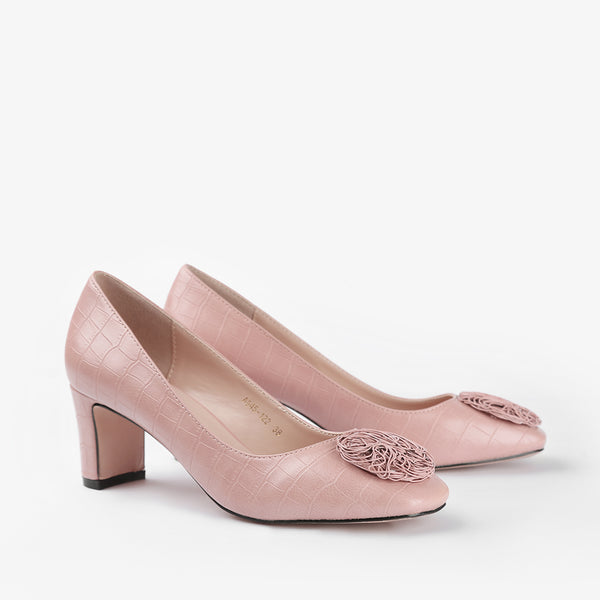 Vivian-Women shoes-Block Heels-Pink-Three Quarter View-JULKÉ