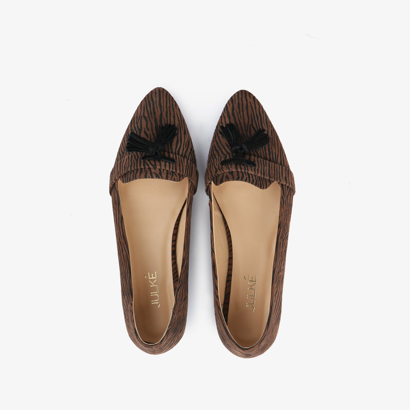 Zephyr-Women shoes-Moccasins-Flat Shoes-Brown-Top View-JULKÉ