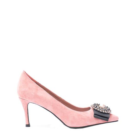 Beatrice - Women Heels in Suede material in pink color - Julke