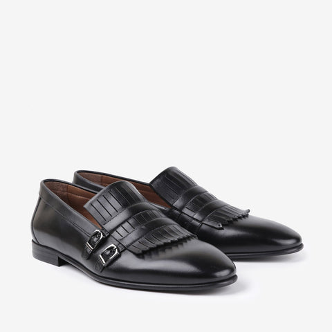 Valiant - Mens Leather shoes with fringe and double monk buckle in black color - JULKE
