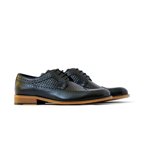 Brock - Mens quilted derby leather shoes in black color - Julke