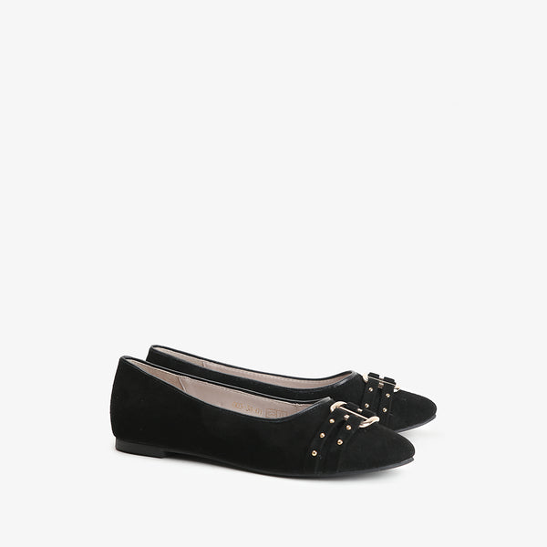 Valerie - Women flat shoes in suede in black color - JULKE