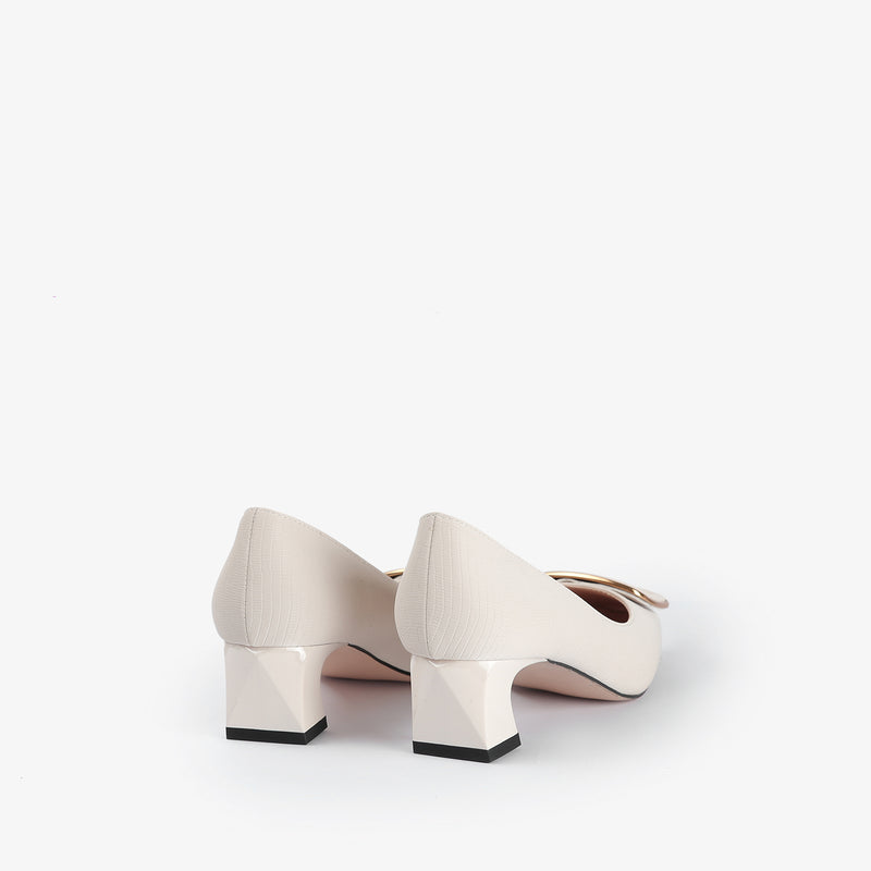 Norma-Women shoes-Block heels-White-Back View-JULKÉ