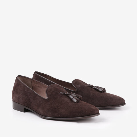 Hugo - Tassel loafers in brown suede color - JULKE