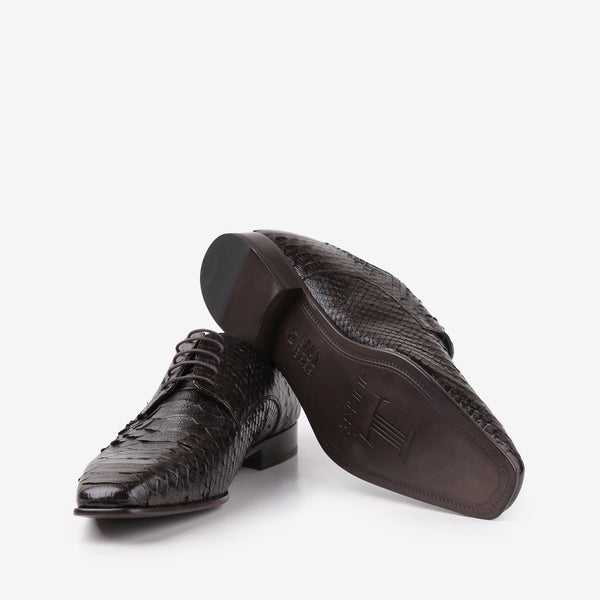 Zhao - Python skin men shoes in brown color - JULKE