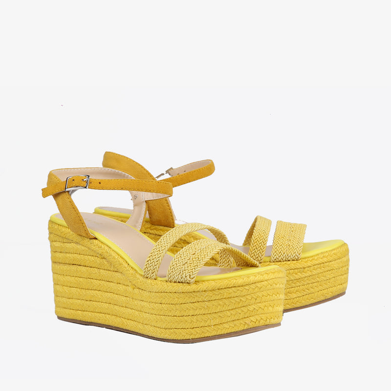 Laurel-Women shoes-Wedges-Wedge heels-Yellow-Three Quarter View-JULKÉ
