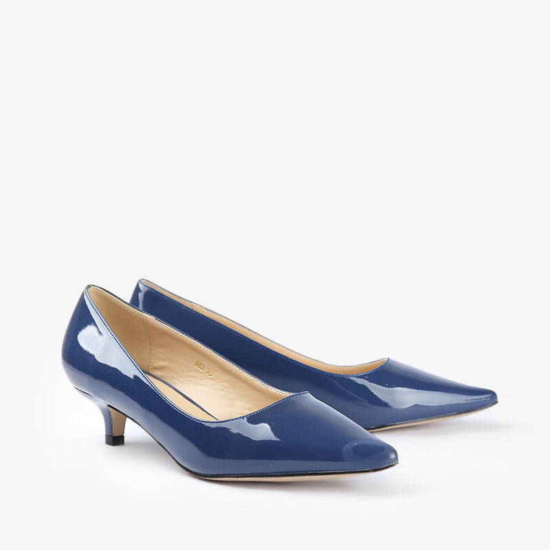 Ellen-Women shoes-Kitten Heels-Blue-Three Quarter View-JULKÉ