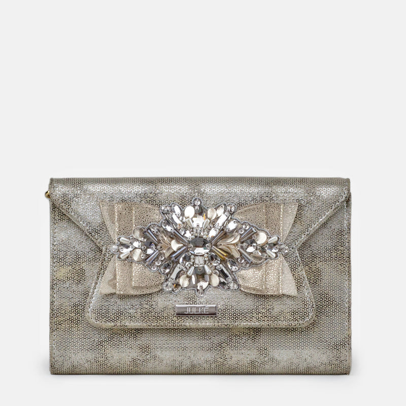 Amelia - Silver Clutch For Ladies - Front View - Julke