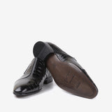 Andreas - Men leather shoes with crocodile pattern in black color - JULKE