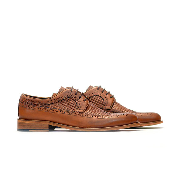 Brock - Mens quilted derby leather shoes in brown color - Julke
