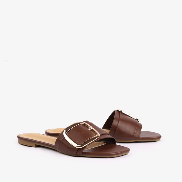 Carol - flat women shoes in brown color - Julke