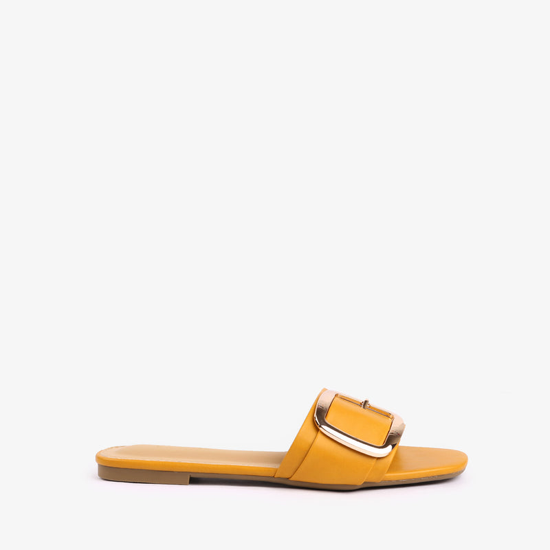 Carol - flat women shoes in yellow color - Julke