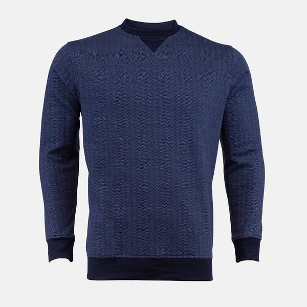 Felix-Winter-Sweatshirts-Crew Neck-Navy Blue-Front View-JULKÉ