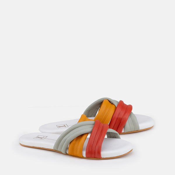 Lexi-Women shoes-Flats-Slides-Multi colour-Three Quarter View-JULKÉ