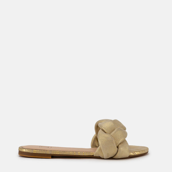 Macy-Women shoes-Flats-Slides-Dull Gold-Side View-JULKÉ