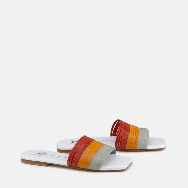 Stacey-Women shoes-Flats-Slides-Multi colour-Three Quarter View-JULKÉ