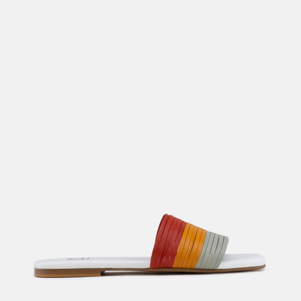 Stacey-Women shoes-Flats-Slides-Multi colour-Side View-JULKÉ