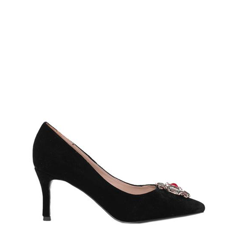 Sofia - Suede heels for women in black color - Julke