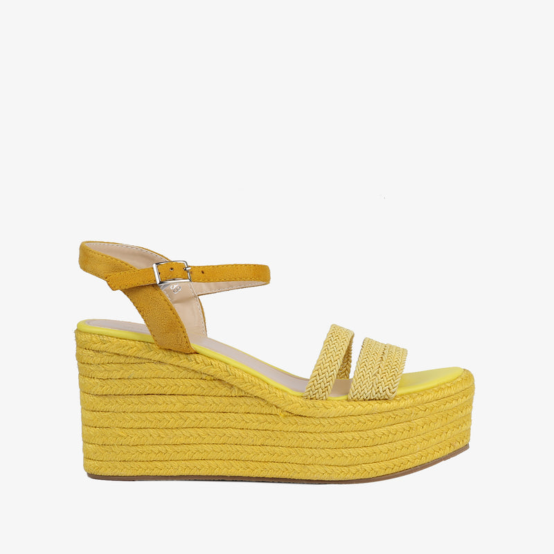 Laurel-Women shoes-Wedges-Wedge heels-Yellow-Side View-JULKÉ